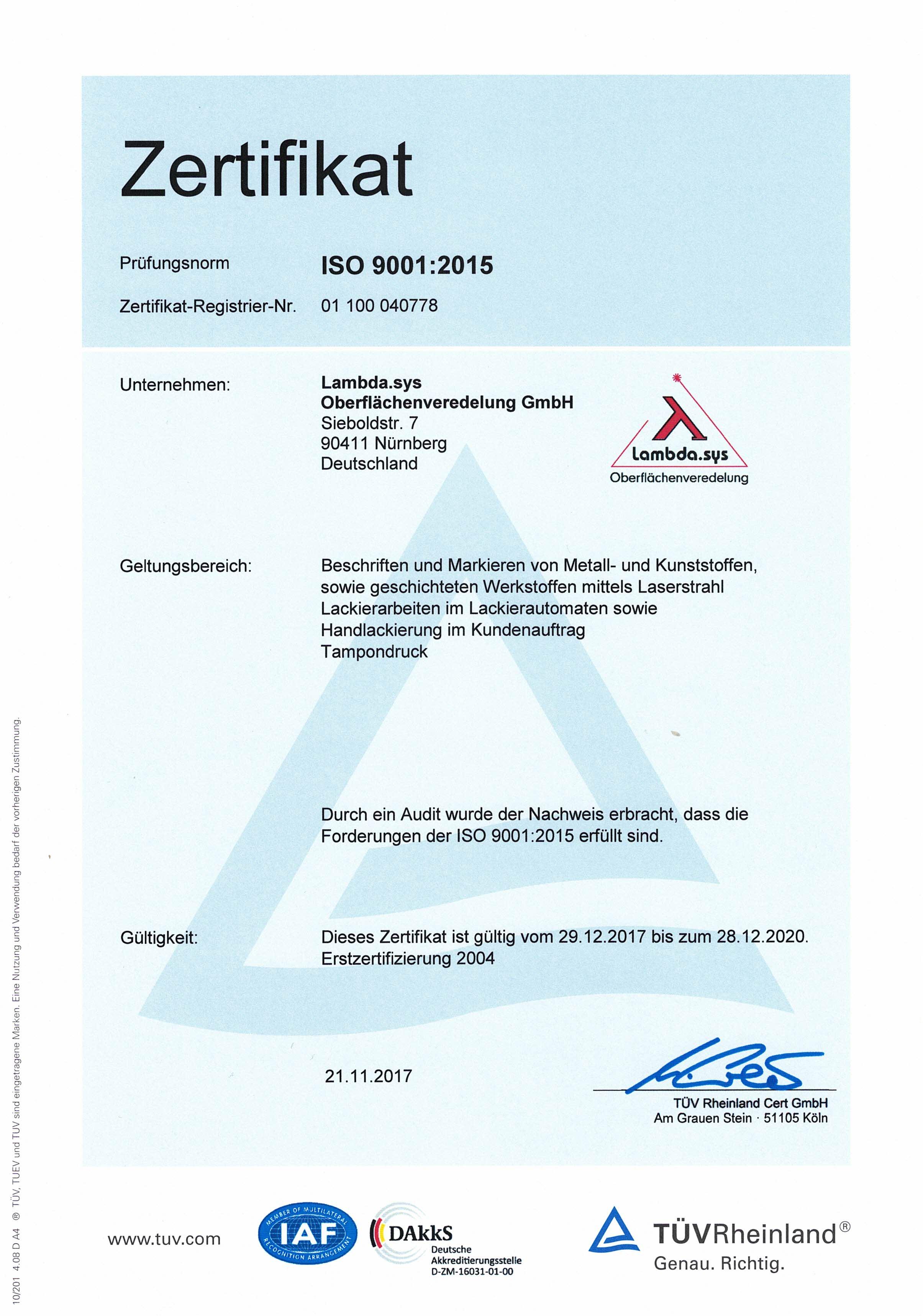 lambda-sys zertifikat
